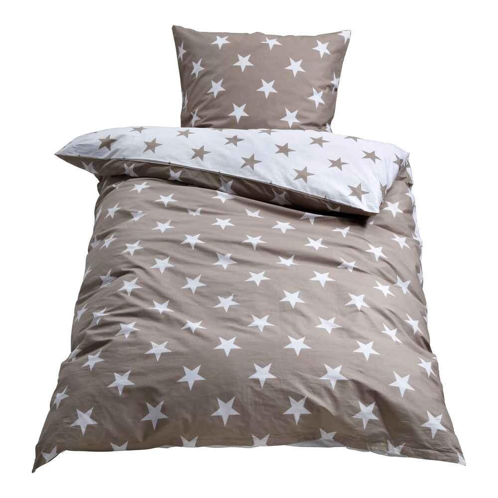 Bettwäsche Percale Stars Taupeweiss 135x200 Cm 80x80 Cm