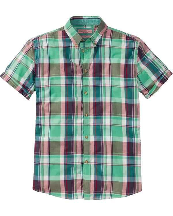 colours   sons Halbarm-Karohemd (Mint Blau Rot) - Hemden ... 5ef7fc2915